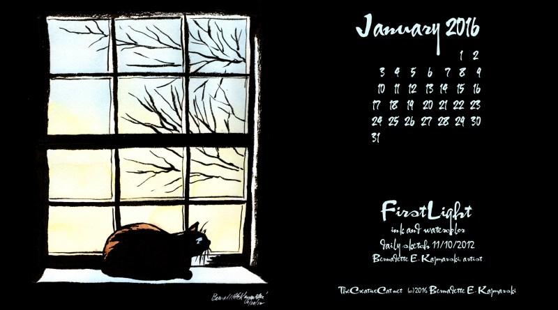"""""""First Light"""" desktop calendar 2560 x 1440 for HD and wide screens."""