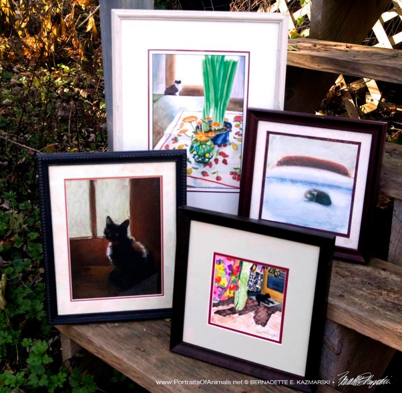 Four original cat paintings on their way home.