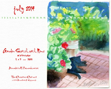 """""""Garden with Mimi"""" desktop calendar, 1280 x 1024 for square and laptop monitors"""