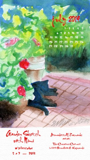 """Garden Sketch wtih Mimi"" desktop calendar for 480 x 854 for mobile devices"