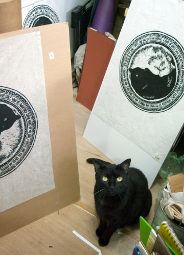 black cat with block prints