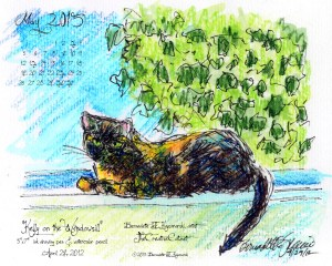 """""""Kelly on the Windowsill"""" desktop calendar, 1280 x 1024 for square and laptop monitors."""