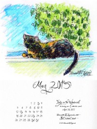 """""""Kelly on the Windowsill"""" desktop calendar, for 600 x 800 for iPad, Kindle and other readers."""