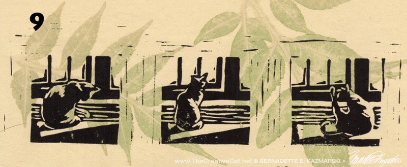 """Kelly's Morning Bath I"", linoleum block print on handmade rice paper, 3"" x 10"", 2015 © Bernadette E. Kazmarski"