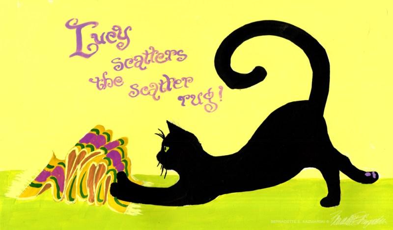 """""""Lucy Scatters the Scatter Rug"""", gouache, 10"""" x 6.5"""" © Bernadette E. Kazmarski"""