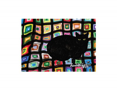 Mewsette on the Afghan 5x7 print.