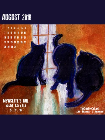 """Mewsette's TAil"" desktop calendar, 600 x 800 for iPad, Kindle and other readers."