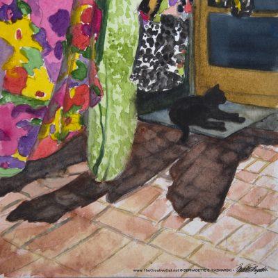 Mimi in the Laundry Shade, watercolor, 6 x 6 © Bernadette E. Kazmarski