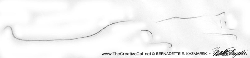 minimalist sketch of cat napping