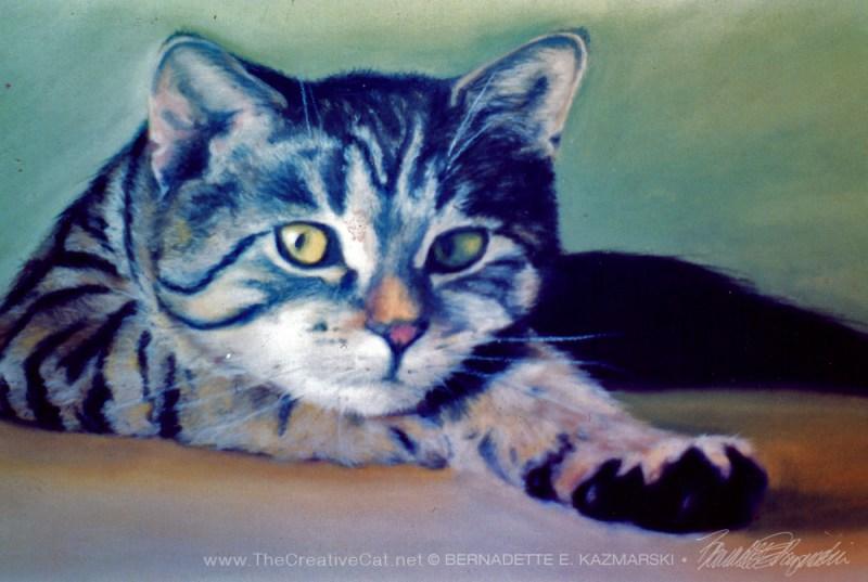 Detail of protrait of tabby cat