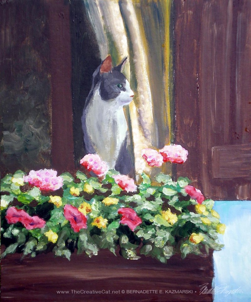 painting of cat with flowers by window