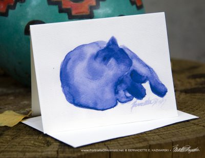 Mewsette's Blue Nap note card