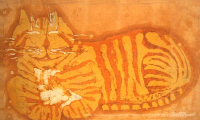 """Smiling Orange Kitty"", batik, 1972 © Bernadette E. Kazmarski"
