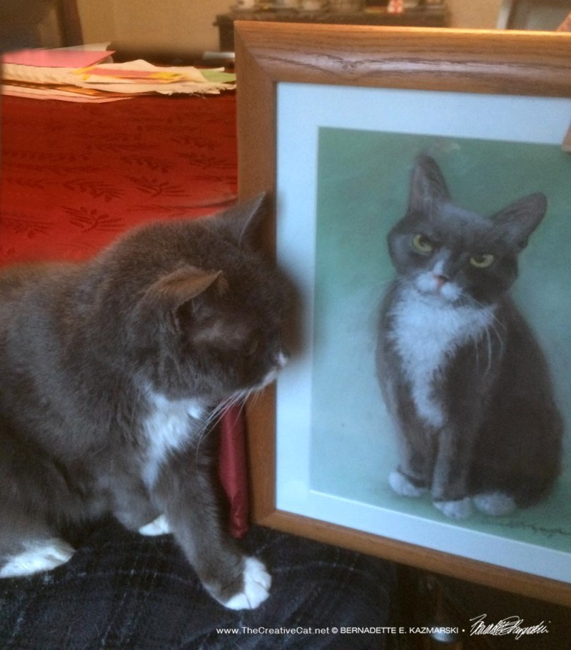 Oscar looks at his portrait.