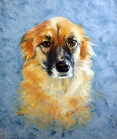 pastel portrait of german shepherd dog