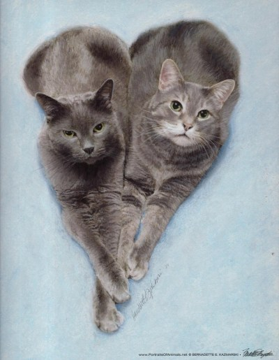pastel portrait of two gray cats