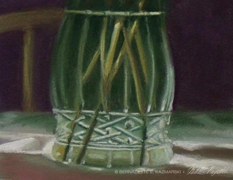 pastel painting of calico cat and vase of peonies