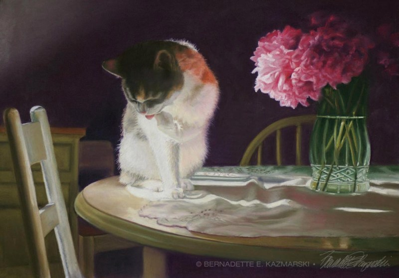 pastel painting of calico cat with vase of peonies