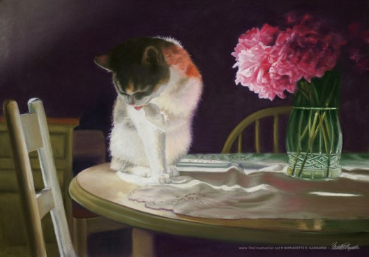 """Peaches and Peonies"", pastel, 23"" x 16"", 2008 © B.E. Kazmarski"