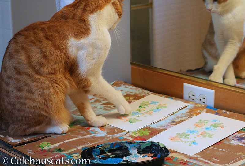 orange and white cat painting