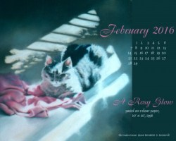 """A Rosy Glow"" desktop calendar, 1280 x 1024 for square and laptop monitors."