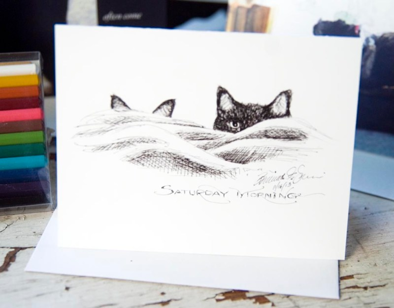 """""""Saturday Morning"""" notecard, one in a set of four."""