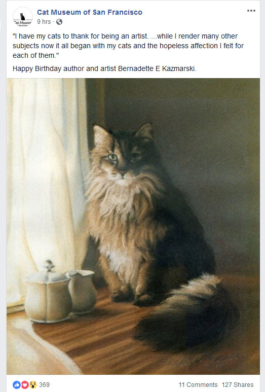 Screenshot of the post from Cat Museum of San Francisco
