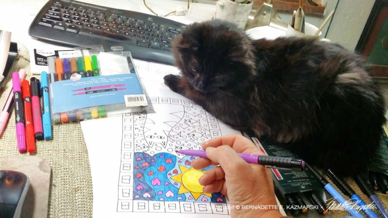 Simon supervises my coloring.