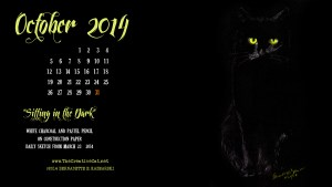 """Sitting in the Dark"", 2560 x 1440 for wide and HD monitors cats desktop calendar"