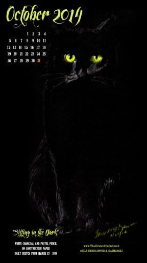 """Sitting in the Dark"" desktop calendar for 480 x 854 for mobile devices cats desktop calendar"