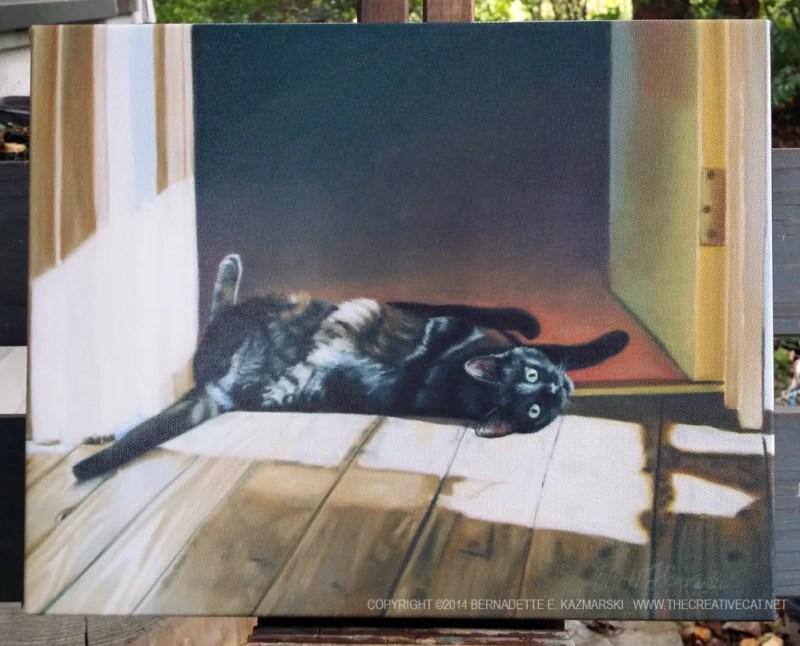 canvas print of black cat on floor