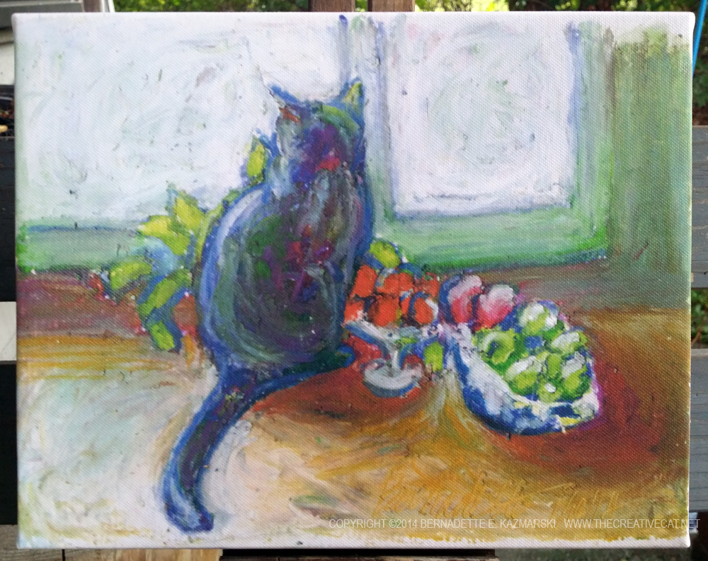 canvas print of cat with fruit bowl