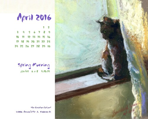 """Spring Morning"" desktop calendar, 1280 x 1024 for square and laptop monitors."