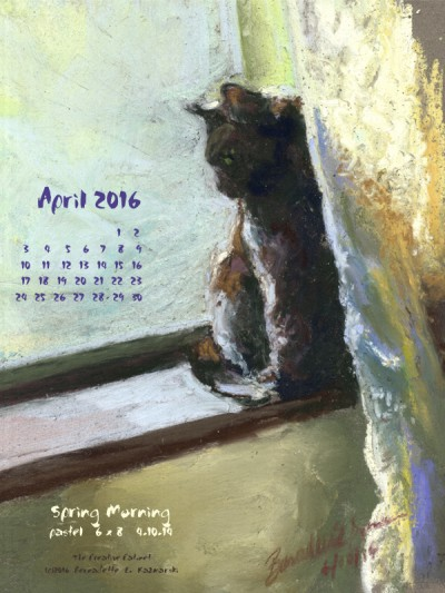 """""""Spring Morning"""" desktop calendar, 600 x 800 for iPad, Kindle and other readers."""