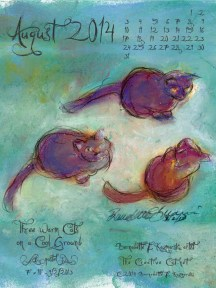 """Three Warm Cats on a Cool Ground"" desktop calendar, for 600 x 800 for iPad, Kindle and other readers"