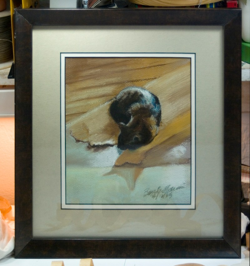 framed sketch of cat