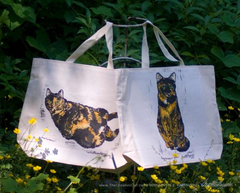 Tortie Girls tote bags.