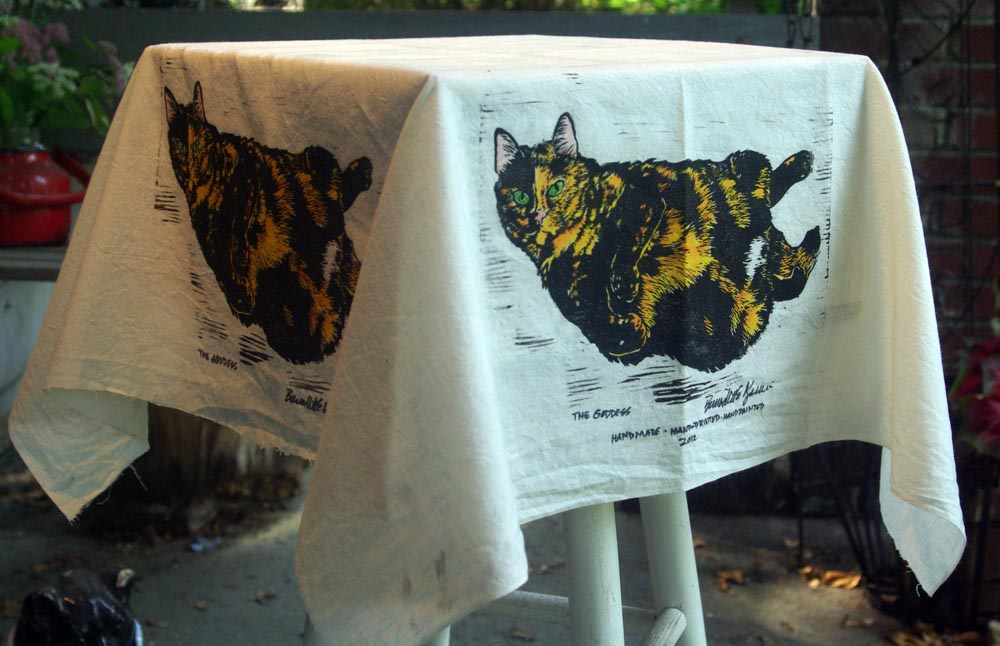 Tortie Girls tablecloth, The Goddess.