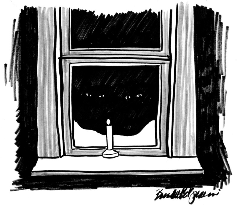 marker sketch of two black cats at the window