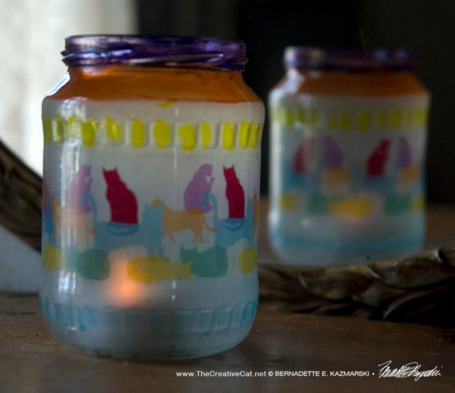 Colorful Kitties votive.
