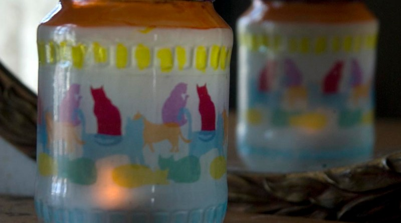 Colorful Kitties votive.