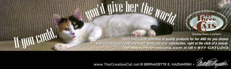 advertisement with calico cat