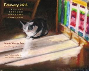 """Warm Winter Sun"" desktop calendar, 1280 x 1024 for square and laptop monitors"