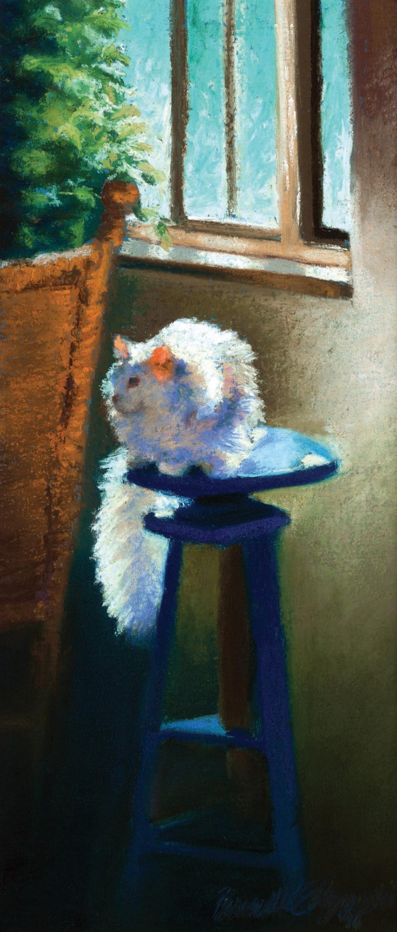 """White Cat Reflecting"", pastel on Hahnemühle sanded watercolor paper, 6"" x 14""© Bernadette E. Kazmarski"
