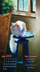 """White Cat Reflecting"", 480 x 854 for mobile devices"