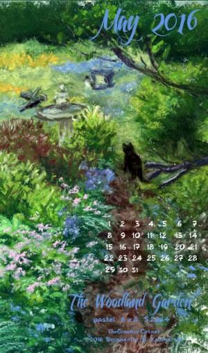 """The Woodland Garden"" desktop calendar, for 400 x 712 for mobile phones."