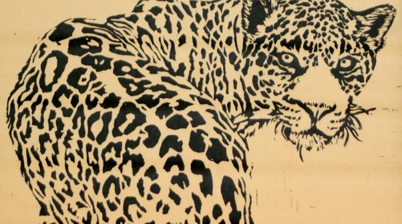 linoleum block pint of leopard,