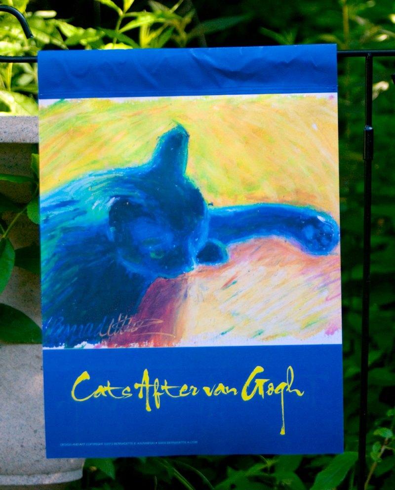 """""""Cats After van Gogh: In Window Light"""" garden flag"""