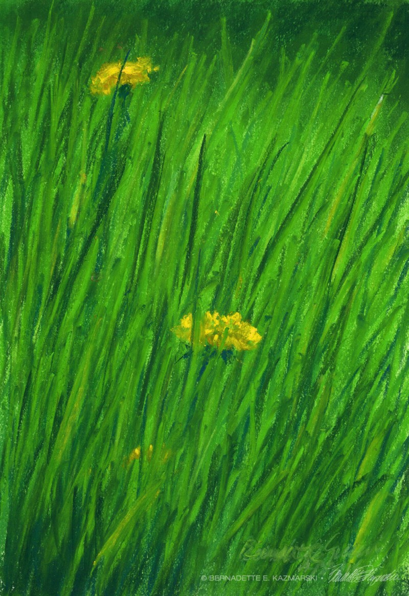 pastel painting of green grass