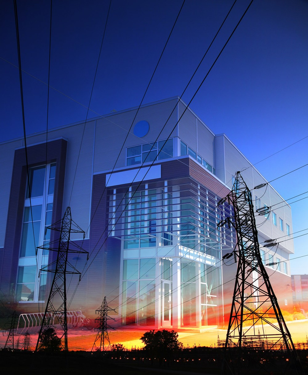 Office-Building-with-Electric-Pylons-Photo-Montage